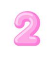 number 2 candy font caramel alphabet two lollipop vector image