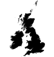Silhouette map of the United Kingdom and Ireland vector image