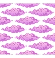 Pink curly cartoon style clouds seamless vector image