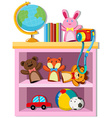 Toys and books on shelf vector image