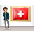 A man beside the framed flag of Switzerland vector image vector image