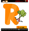 letter r with radish cartoon vector image vector image