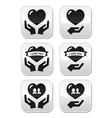 Hands with heart love relationship buttons set vector image vector image
