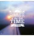 Summer time typography design on blurred sky vector image