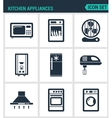 Set modern icons Kitchen appliances vector image