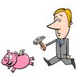 businessman chase piggy bank vector image