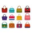 Colored female handbags setFashion vector image