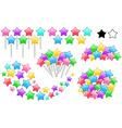 Colorful Stars On Sticks Set vector image