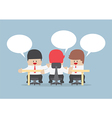 Group of businessmen brainstorming together vector image