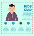 happy black hair boy infographic vector image