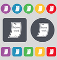 Homework icon sign A set of 12 colored buttons vector image