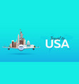 travel to usa airplane with attractions travel vector image