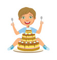young boy with birthday cake a colorful character vector image