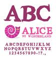 Alice in Wonderland font Fairy ABC mad Alphabet vector image