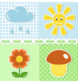 Summer icons on fabric backgrounds vector