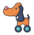 dog toy on wheels icon cartoon style vector image