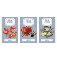 sea food cards realistic layout template vector image