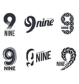 Set of black and white number nine logo templates vector image