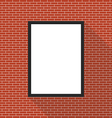 Blank picture frame on brick wall vector image