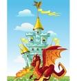 magical fairytale red Dragon near the blue magic vector image vector image