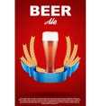 Brewery Label with red beer glass and malt vector image