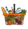 Doodle sketch drawing with a basket of groceries vector image vector image