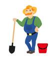 cartoon farmer with shovel bucket vector image