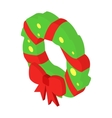 Christmas wreath isometric 3d icon vector image