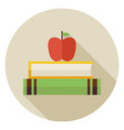 Flat Knowledge Book with Apple Circle Icon with vector image