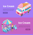 ice cream mobile umbrella cart and minivan poster vector image