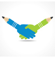 businessman handshake background with pencil vector image vector image