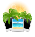 Summertime background with set photo frames vector image