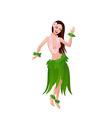 Ethnic dance of hawaiian girl vector image