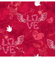 Valentines Day seamless pattern with hand drawn vector image