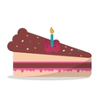 delicious piece cake chocolate candle birthday vector image