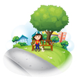 A girl sitting at the wooden bench near the big vector image vector image