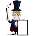 magician cartoon with blank sign vector image
