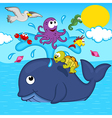 whale and marine animals vector image