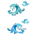 Blue wave icons with swirly water drops vector image