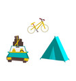 car with baggage tourist tent and mountain bike vector image