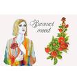 Summer girl watercolor vector image