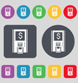 atm icon sign A set of 12 colored buttons Flat vector image