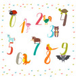 learn to count numbers funny cartoon childish vector image