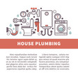 house bathroom and kitchen plumbing poster vector image