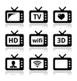 TV set 3d HD icons vector image vector image