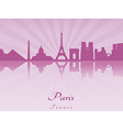 Paris skyline in purple radiant orchid vector image