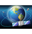 Satellites surrounding the planet Earth vector image