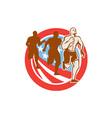 American Crossfit Runners USA Flag Circle Retro vector image vector image