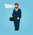 cartoon businessman with case and suit vector image