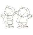 cute cartoon boy character line art vector image
